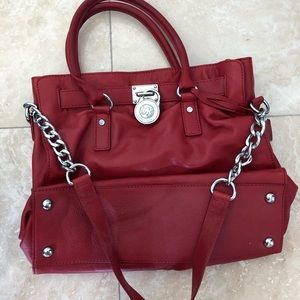 Red leather Michael Kors purse
